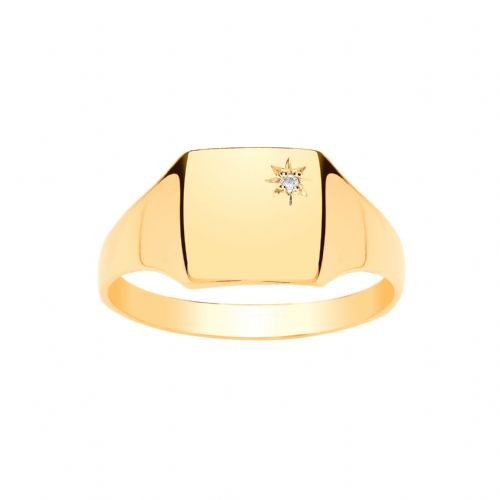 Yellow Gold Square Gents Diamond Set Signet Ring